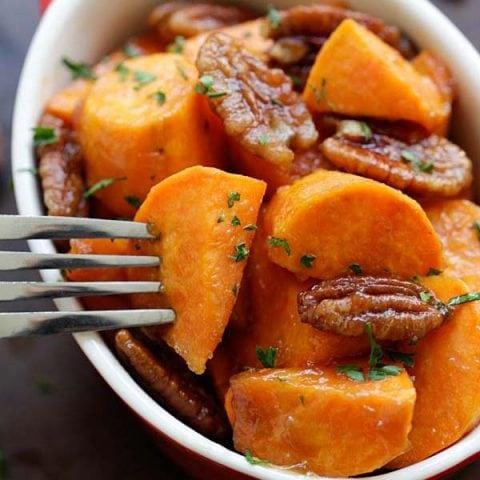 maple glazed sweet potatoes with pecan