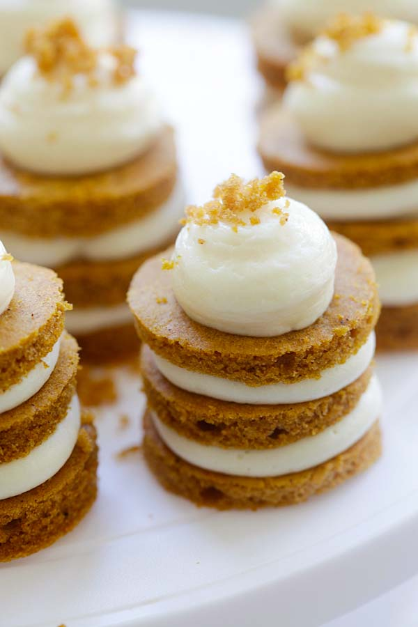 Closed up easy homemade mini pumpkin cake with cream cheese frosting.