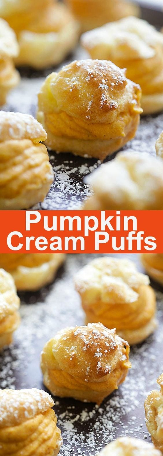 Pumpkin Cream Puffs - puffy choux pastry filled with sweet pumpkin cream filling. These pumpkin cream puffs are perfect for the holidays | rasamalaysia.com