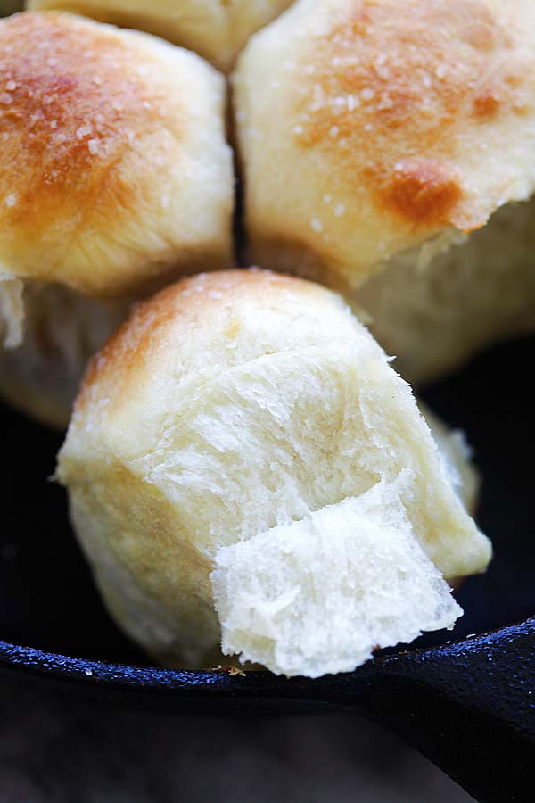 Easy and delicious homemade skillet dinner rolls, ready to serve.