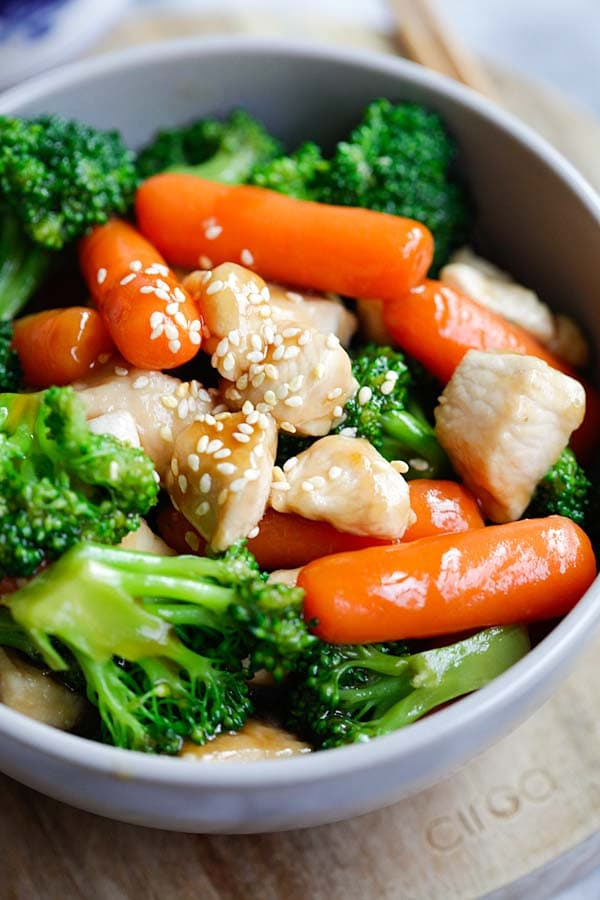 Asian Stir Fry Sauce Over Carrots Chicken and Broccoli