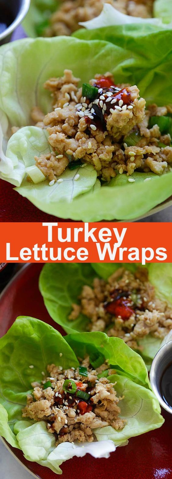 Turkey Lettuce Wraps – healthy lettuce wraps recipe with ground turkey with a Hoisin-Sriracha dipping sauce. Perfect appetizer for Thanksgiving   rasamalaysia.com