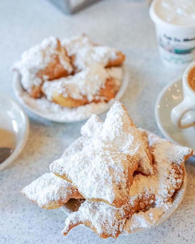 Beignets New Orleans served in Cafe Du Monde in New Orleans.