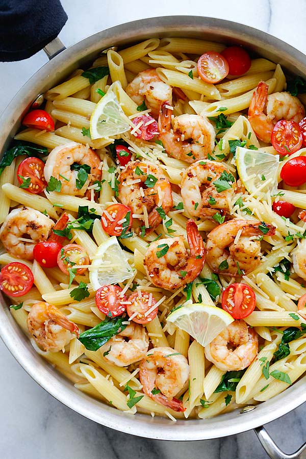 Served Cajun Shrimp Pasta With Lemon and Tomatoes