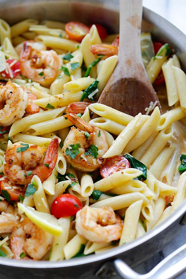 Cooked Shrimp Pasta with Cajun Seasoning