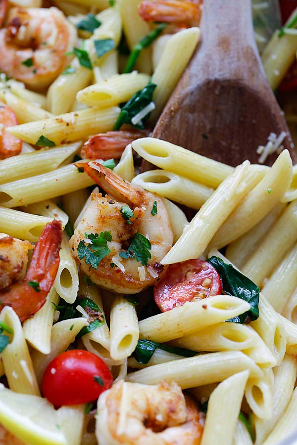Spicy Cajun Shrimp Pasta In Serving Dish