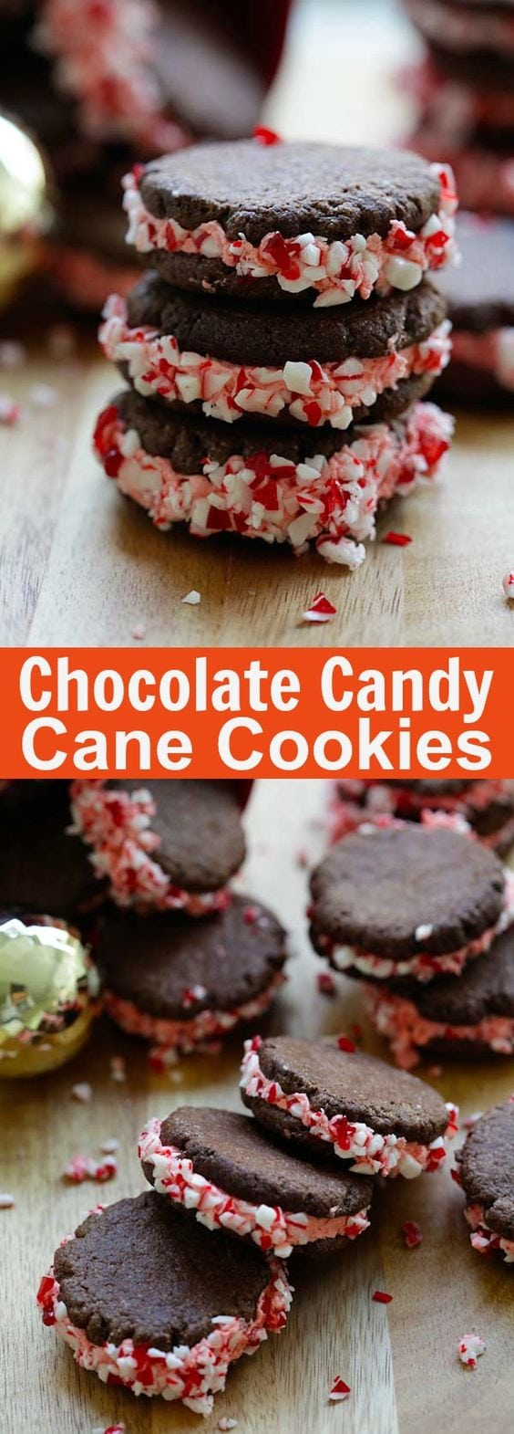 Chocolate Candy Cane Cookies – festive chocolate cookies with frosting and candy canes! The perfect cookie recipe for the holidays!   rasamalaysia.com