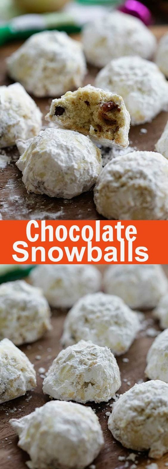 Chocolate Snowballs – Sugar-covered chocolate chips and pecan cookies. Buttery, crunchy, sweet, the best cookies for the season | rasamalaysia.com