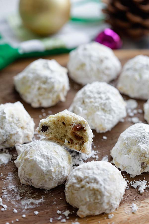 Easy and delicious festive sugar-covered chocolate chips and pecan cookies.