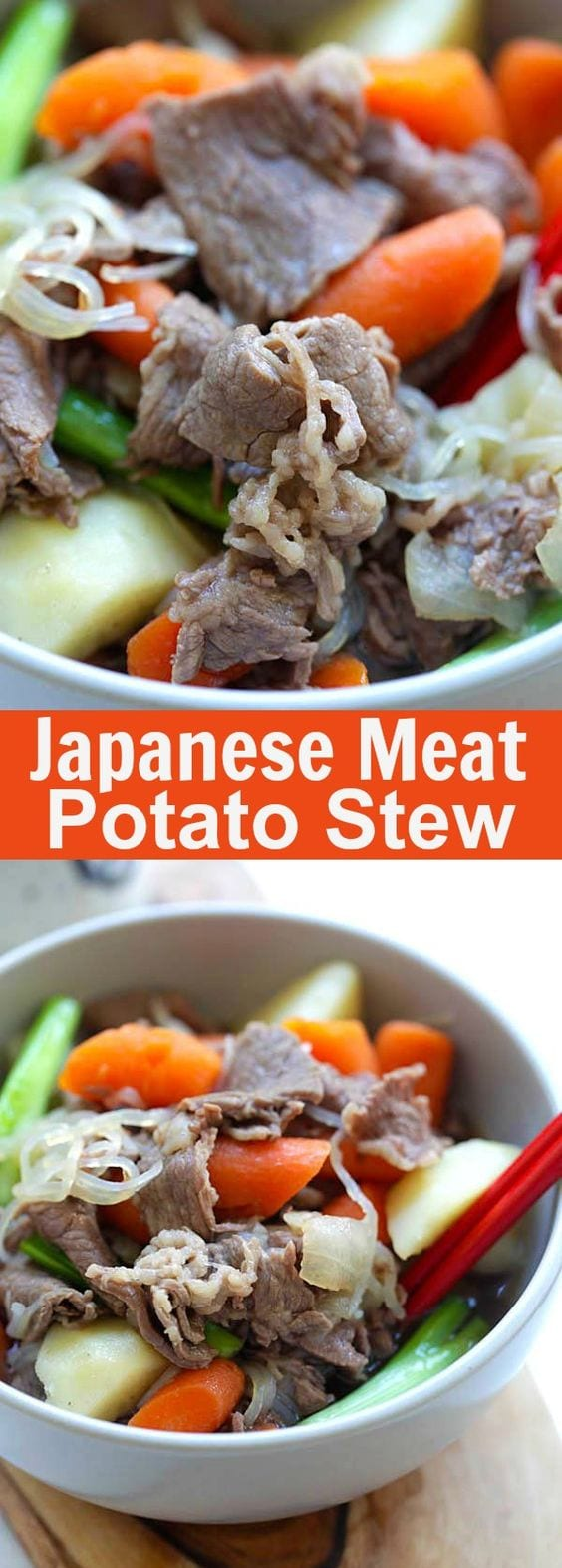 Japanese Meat and Potato Stew (Nikujaga) – hearty stew with meat and potatoes. This Japanese comfort food is delicious for colder months | rasamalaysia.com