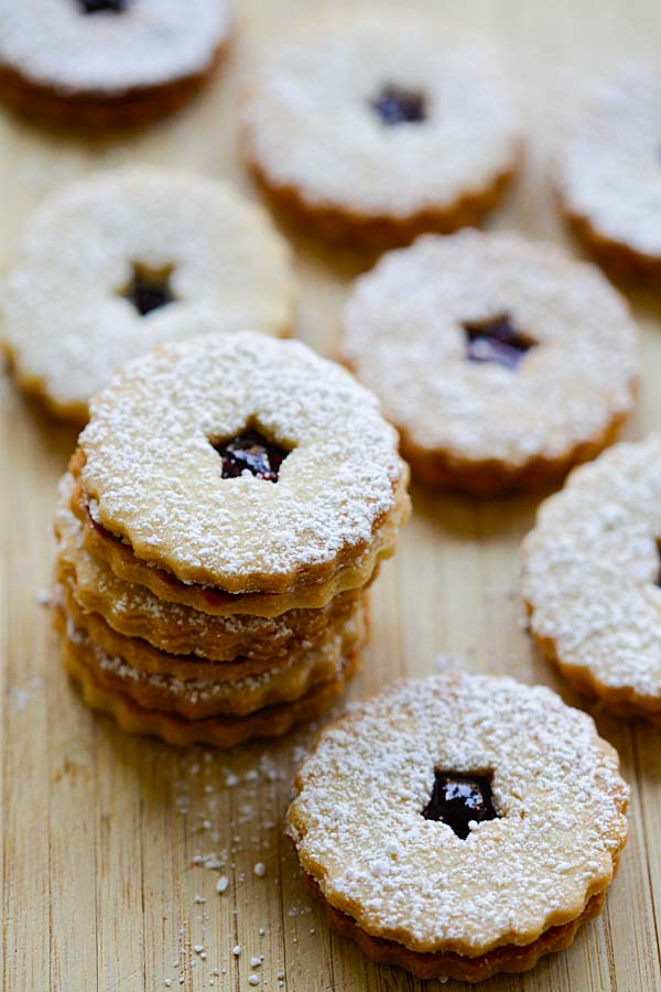 Easy quick homemade festive raspberry jam linzer cookie.