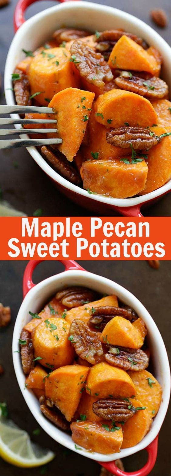 Maple Glazed Sweet Potatoes with Pecan - roasted sweet potatoes with a sticky sweet maple glaze plus nutty pecan. A holiday favorite | rasamalaysia.com