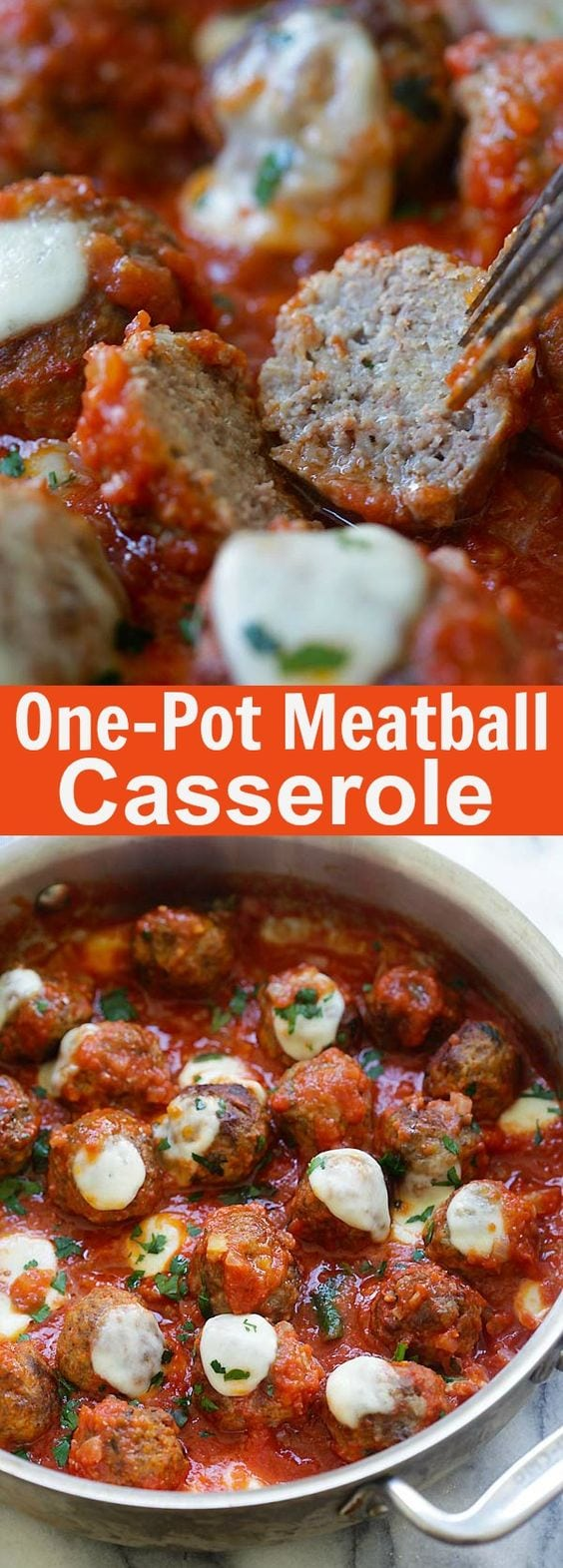 Meatball Casserole – one pot juicy and delicious meatballs in tomato sauce and topped with mozzarella cheese, homemade comfort food | rasamalaysia.com