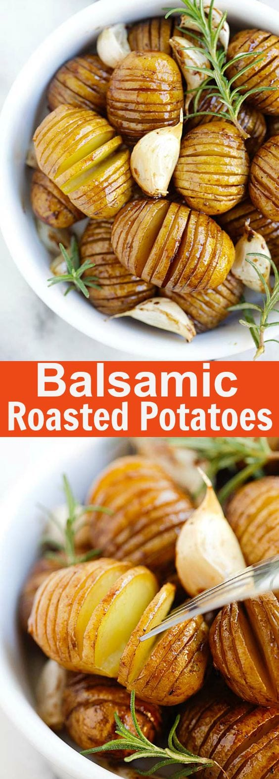 Balsamic Roasted Potatoes – crazy delicious hasselback roasted potatoes with honey balsamic and garlic. Best potato side dish ever | rasamalaysia.com