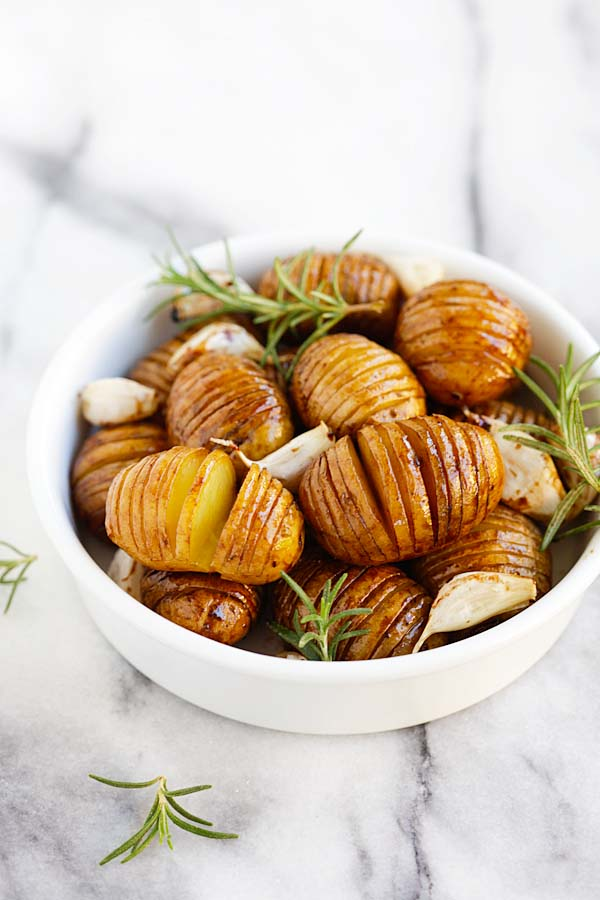 Honey balsamic roasted hasselback potatoes.
