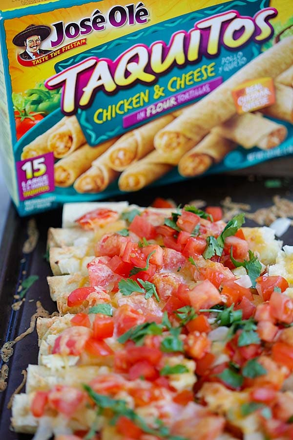 Cheesy Baked Taquitos - the easiest baked taquitos ever, loaded with cheese. Takes 15 mins active time to make this amazing recipe | rasamalaysia.com