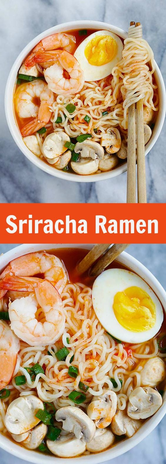 Sriracha Ramen - the best homemade ramen ever with spicy Sriracha broth and yummy toppings. So easy and takes only 15 minutes | rasamalaysia.com