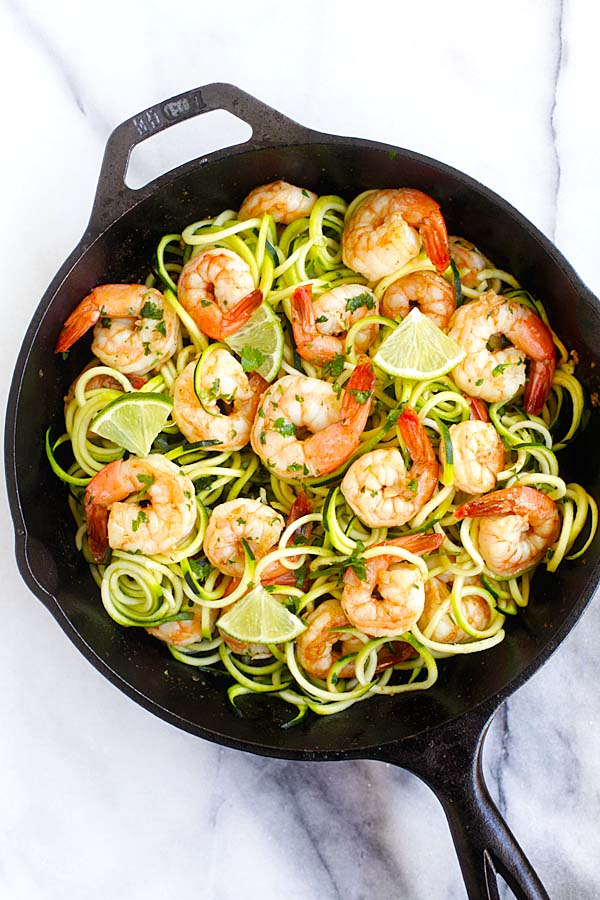 Easy and delicious shrimp zoodles sauteed in brown butter, cilantro and lime juice in a skillet.