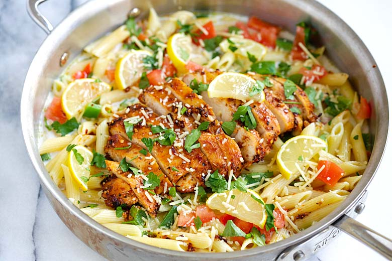 Cajun chicken pasta in skillet