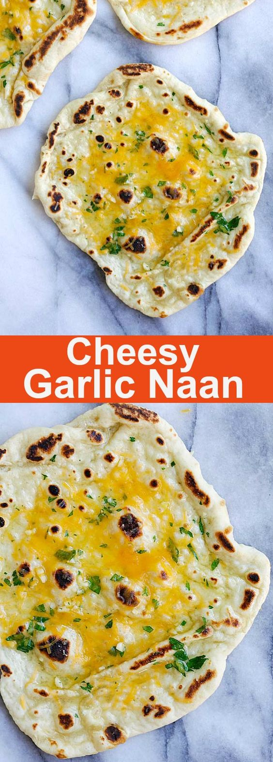 Cheesy Garlic Naan – homemade naan topped with garlic and cheddar cheese. Cheesy, buttery, garlicky naan that you can't stop eating | rasamalaysia.com