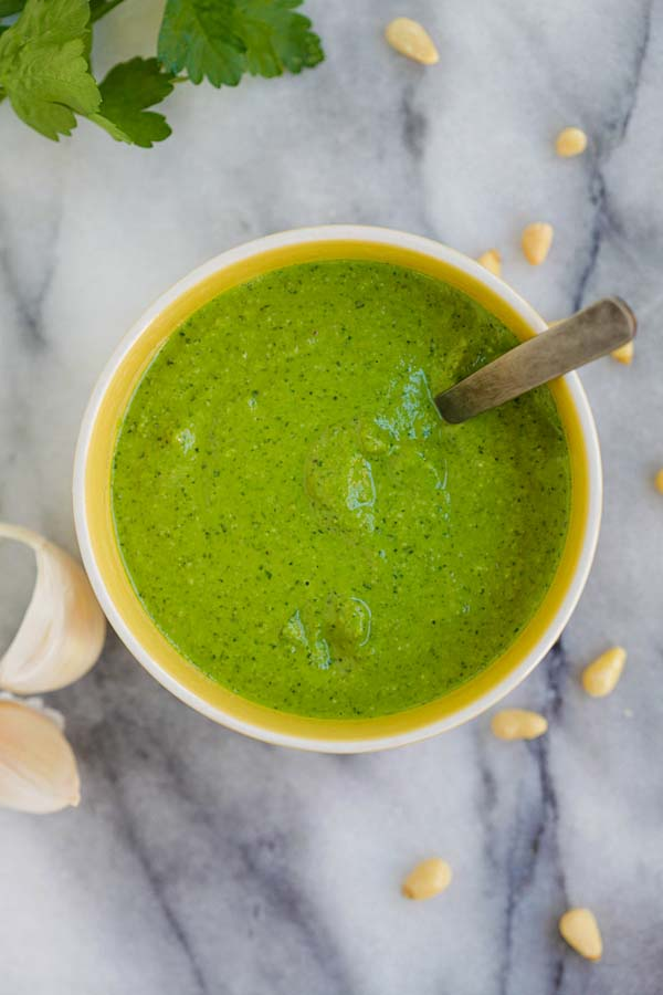 Garlic Pesto - BEST homemade pesto loaded with garlic, Parmesan cheese, basil and pine nuts. This garlic pesto recipe is great for potatoes, pasta and more | rasamalaysia.com