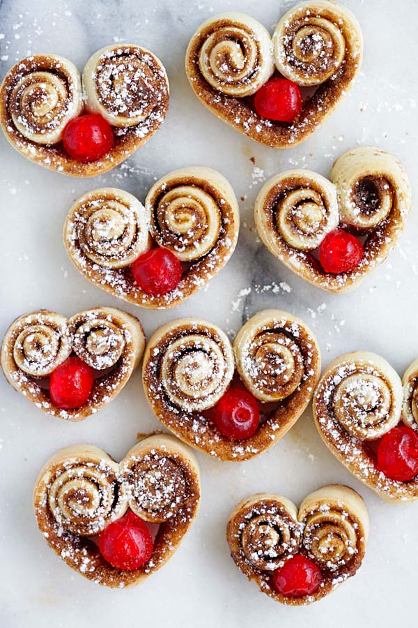 Heart Shaped Cinnamon Rolls - the cutest and best cinnamon rolls ever, made into heart shape and stuffed with red cherries. So adorable | rasamalaysia.com