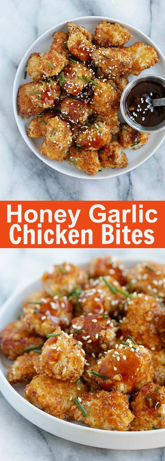 Honey Garlic Chicken Bites – panko-crusted baked chicken nuggets with a sweet and savory honey garlic sauce. So sticky sweet and good | rasamalaysia.com