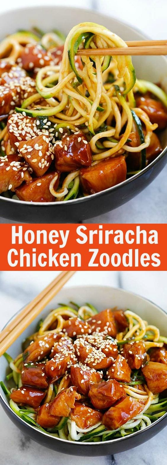 Honey sriracha chicken zucchini zoodles easy delicious recipes honey sriracha chicken zucchini noodles healthy zoodles with sweet and spicy honey sriracha chicken forumfinder Choice Image