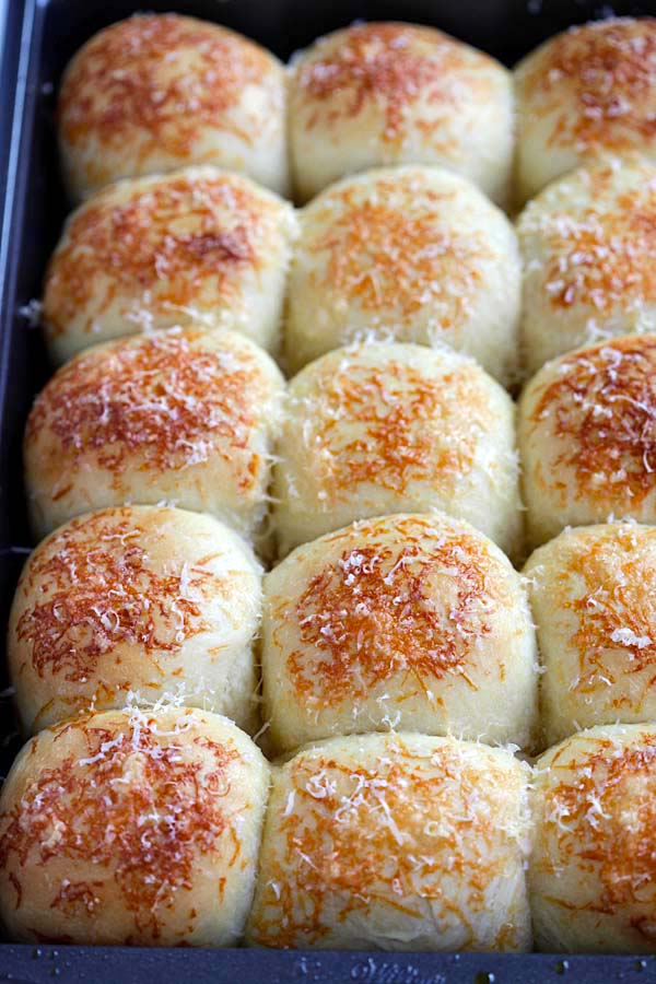 Best and easiest Parker house rolls recipe with Parmesan cheese.