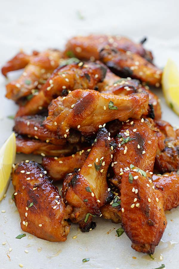 Easy and quick Japanese-flavored chicken wings with miso and honey.