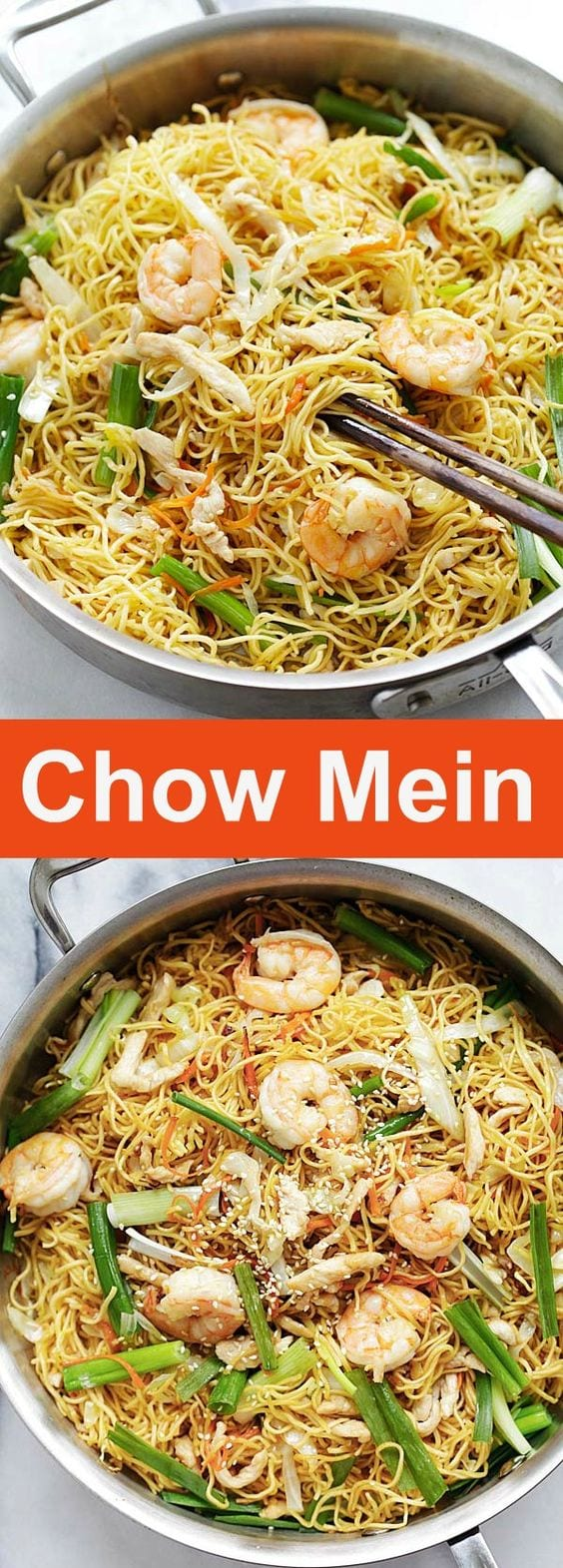 Chow Mein - quick and easy stir fried noodles with chicken, shrimp and vegetables, with the best Chow Mein sauce. Turn your pantry ingredients into an authentic Chinese recipe that is better than Panda Express or takeout | rasamalaysia.com