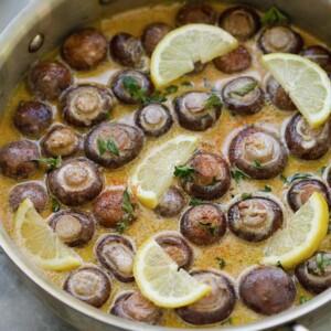 creamy lemon parmesan mushrooms