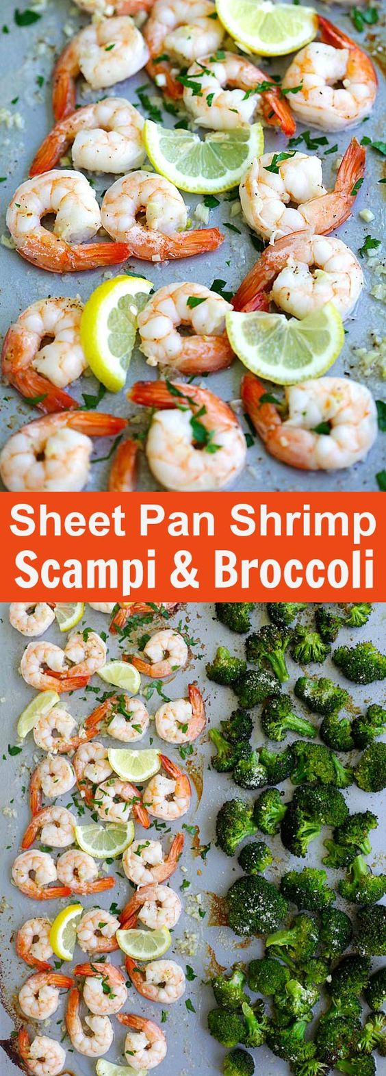 Sheet Pan Shrimp Scampi and Roasted Broccoli – the best shrimp scampi and Parmesan broccoli in one pan. So easy, delicious and dinner takes 20 mins | rasamalaysia.com