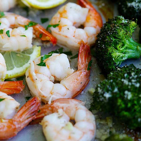 Sheet Pan Shrimp Scampi and Roasted Broccoli – the best shrimp scampi and Parmesan broccoli in one pan. So easy, delicious and dinner takes 20 mins   rasamalaysia.com