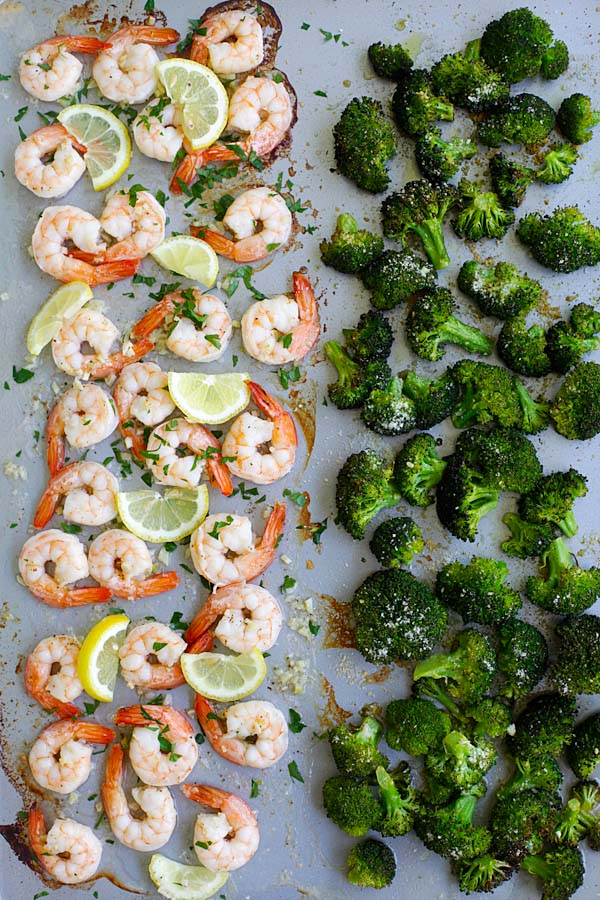 Sheet pan shrimp scampi and roasted broccoli with Parmesan cheese.