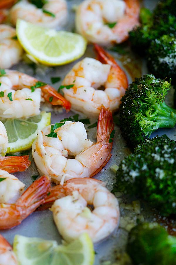 Easy and delicious shrimp scampi and Parmesan broccoli in one sheet pan, ready to serve.