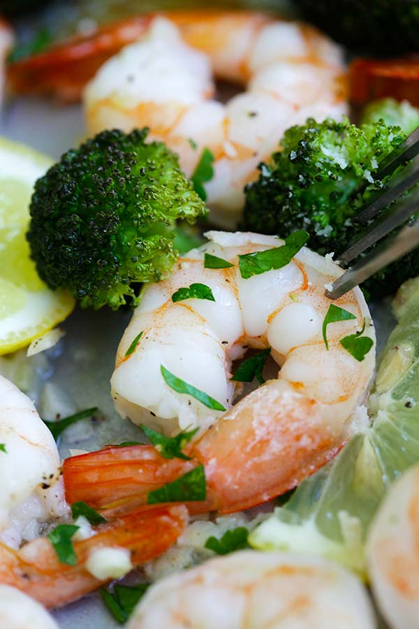 Easy and quick sheet pan shrimp scampi and roasted broccoli closed up.