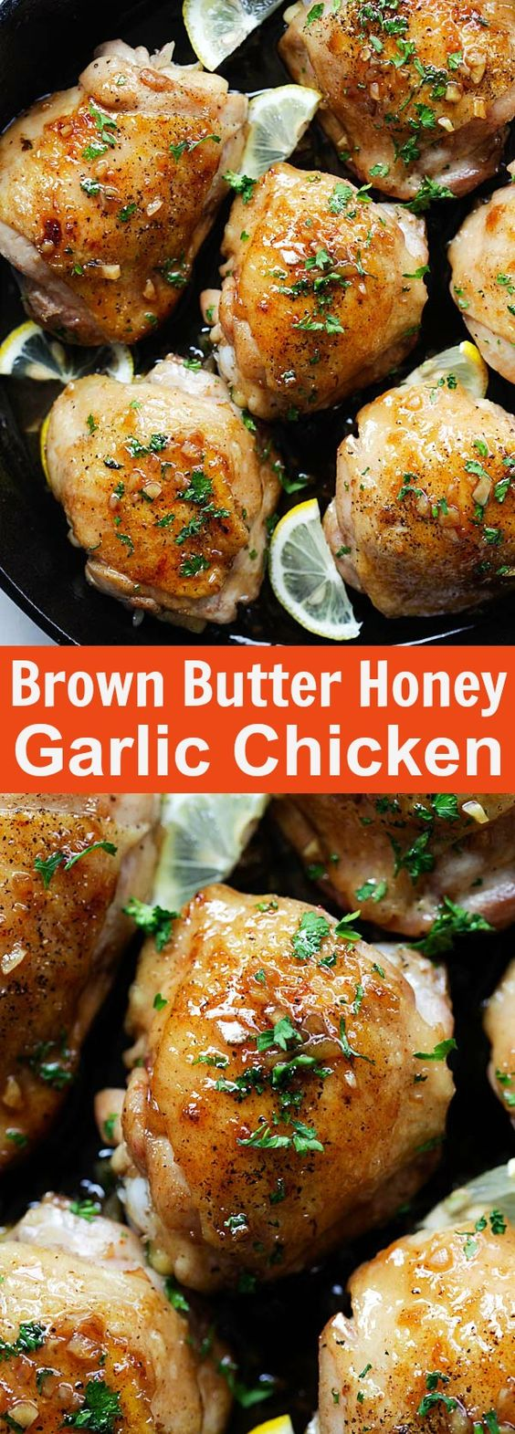 Brown Butter Honey Garlic Chicken - sweet, savory and sticky skillet chicken with the most delicious honey garlic sauce. Easy chicken recipe for the family | rasamalaysia.com