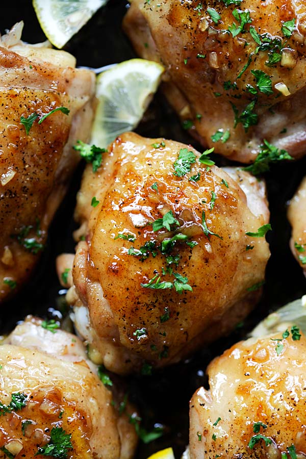 Pan-fry Brown Butter Honey Garlic Chicken thighs recipe.