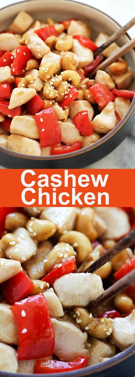 Cashew Chicken - crazy delicious and easy cashew chicken recipe with tender and silky chicken in Chinese brown sauce. Homemade is so much better than takeout and it's perfect for busy weeknights | rasamalaysia.com