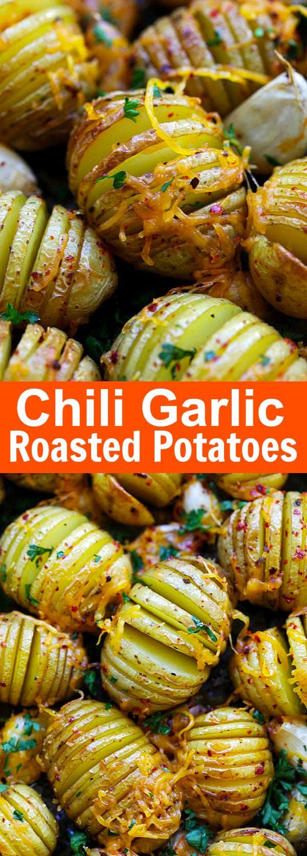 Chili Garlic Roasted Potatoes – jazz up regular garlic roasted potatoes with chili for extra kick. Cheesy and buttery goodness that you can't stop eating | rasamalaysia.com