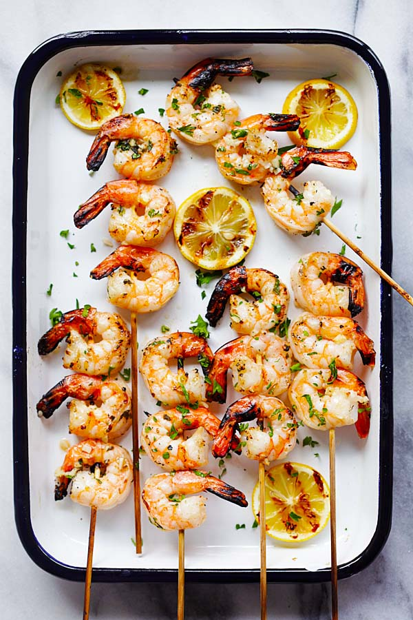 Grilled shrimp with garlic butter and lemon juice.