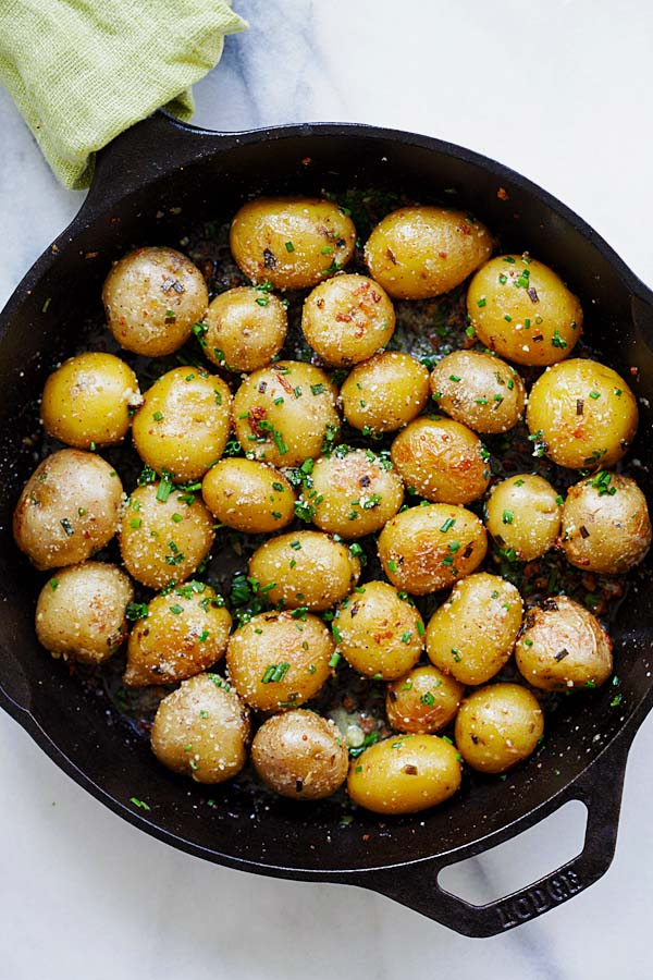 Easy and quick Garlic Chive Butter Roasted Potatoes recipe.