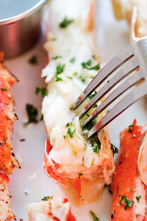 Crab legs with melted butter.