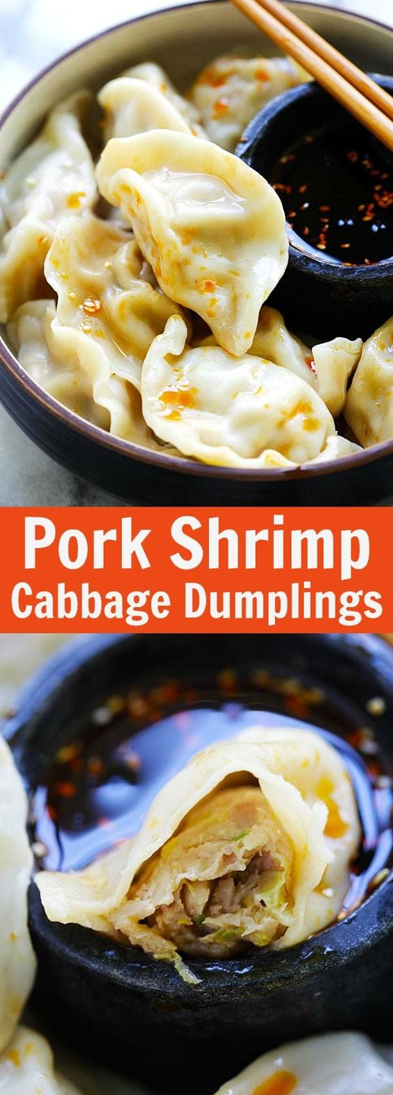 Pork Shrimp and Napa Cabbage Dumplings – juicy dumplings filled with pork, shrimp and napa cabbage. The easiest homemade dumplings recipe ever | rasamalaysia.com