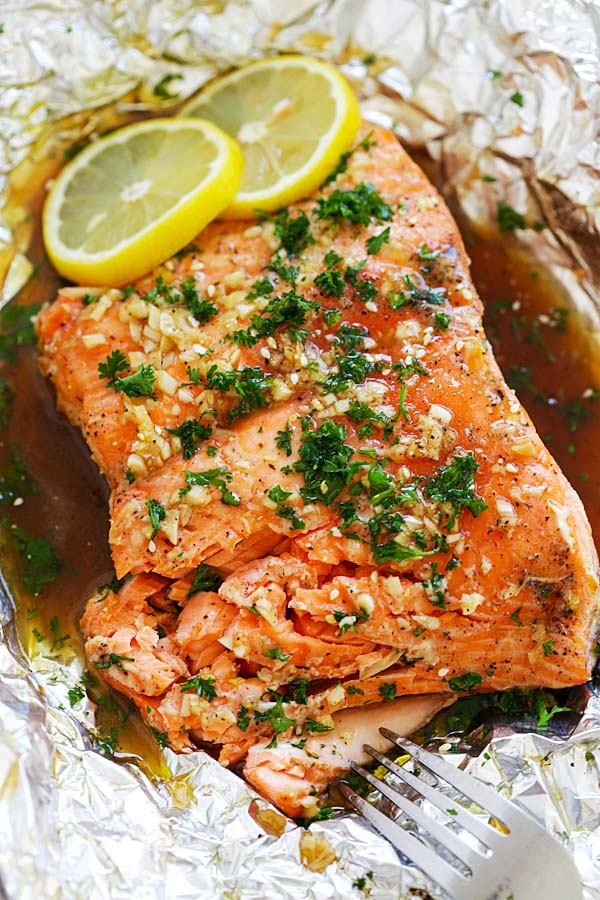 Easy homemade roasted salmon recipe with soy sauce and honey butter.