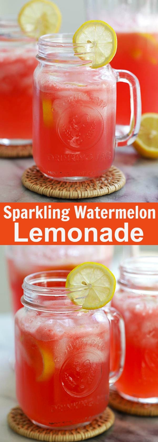 Sparkling Watermelon Lemonade - this bubbly watermelon lemonade recipe is all you need this summer. So refreshing and so easy to make | rasamalaysia.com