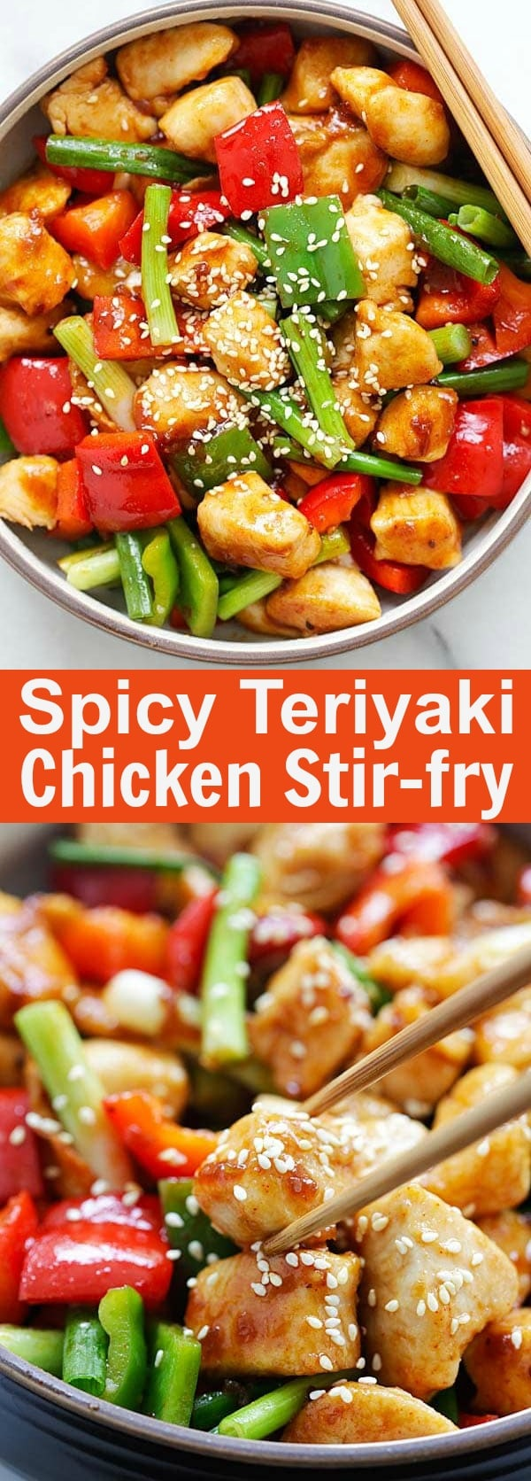 Spicy Teriyaki Chicken Stir Fry – easy and authentic Asian chicken stir fry with Annie Chun's Teriyaki Sauce and Korean Gochujang. So delicious | rasamalaysia.com