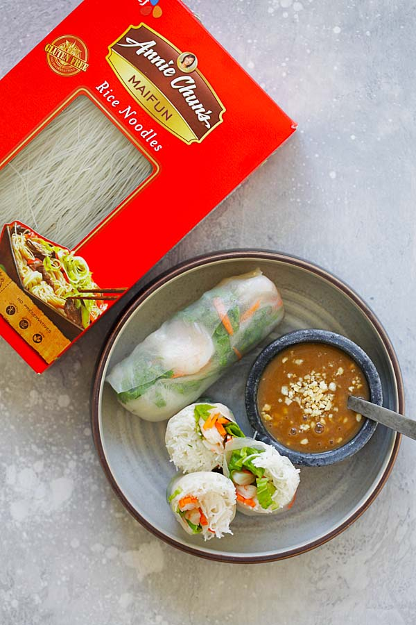 Summer Rolls – healthy and delicious Vietnamese Summer Rolls recipe made with Annie Chun's Maifun rice noodles, lettuce, carrots, shrimp with hoisin-peanut sauce. So good