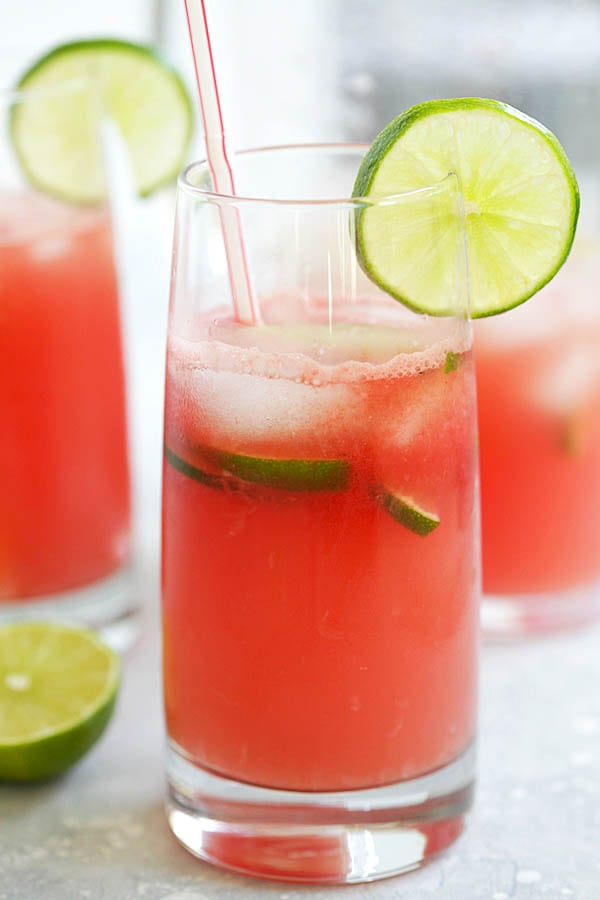 Homemade iced watermelon lemonade, ready to serve.